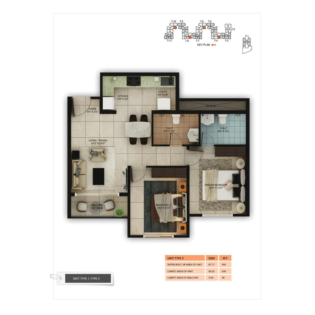 salarpuria sattva misty charm apartment 2 bhk 945sqft 20201515161500