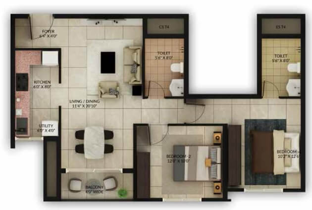 salarpuria sattva misty charm apartment 2bhk 726sqft1