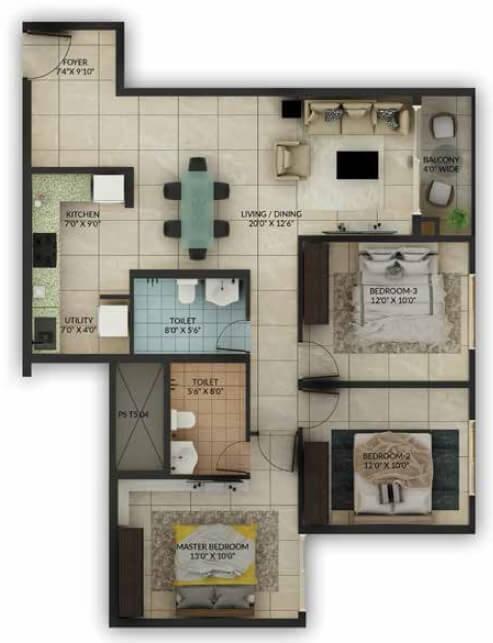 salarpuria sattva misty charm apartment 3bhk 937sqft1