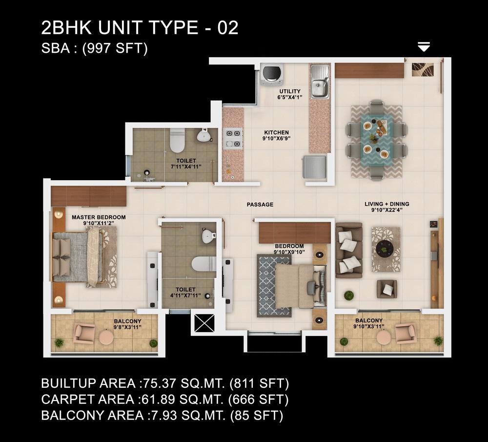 salarpuria sattva park cubix apartment 2bhk 997sqft41
