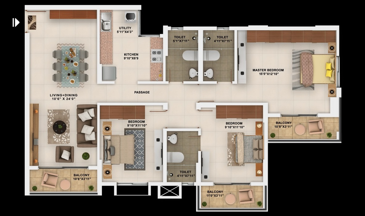 salarpuria sattva park cubix apartment 3 bhk 1466sqft 20204301174319