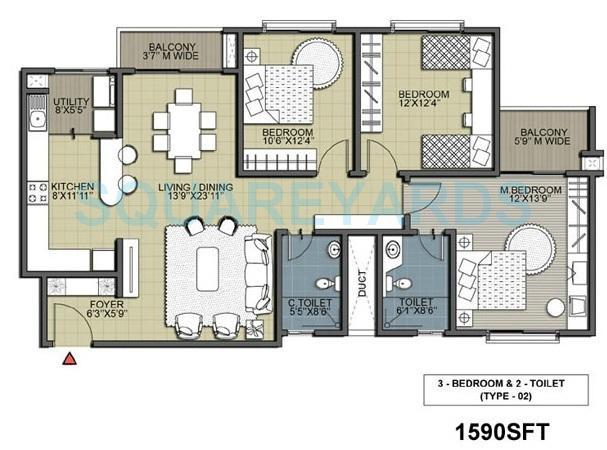 salarpuria silverwood apartments apartment 3bhk 1590sqft 1