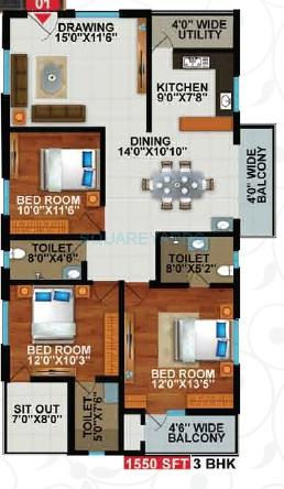 sekhar hyde park apartment 3bhk 1550sqft1