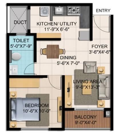 shriram blue apartment 1bhk 452sqft 1