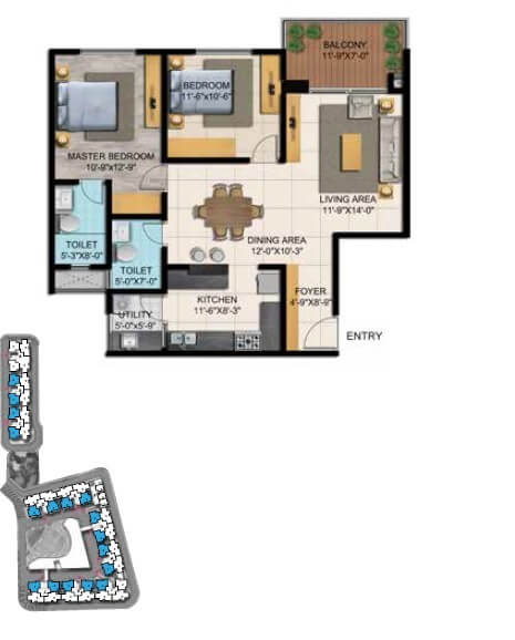 shriram blue apartment 2bhk 959sqft 1
