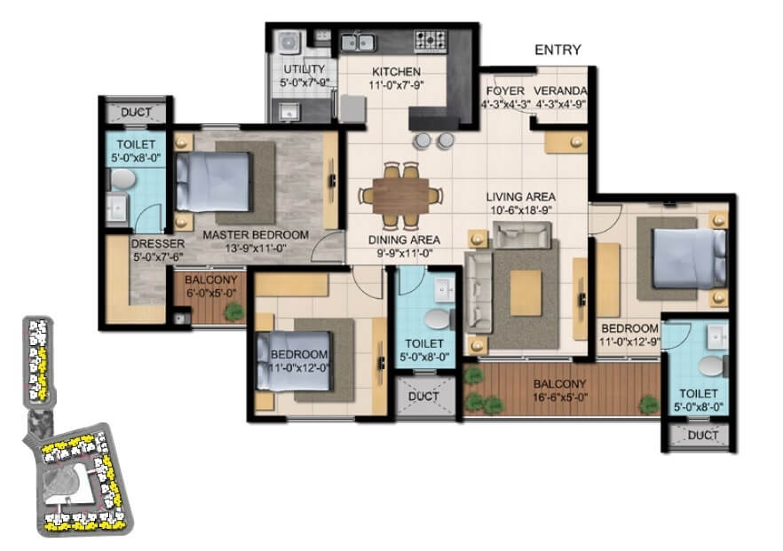 shriram blue apartment 3bhk 1202sqft 1