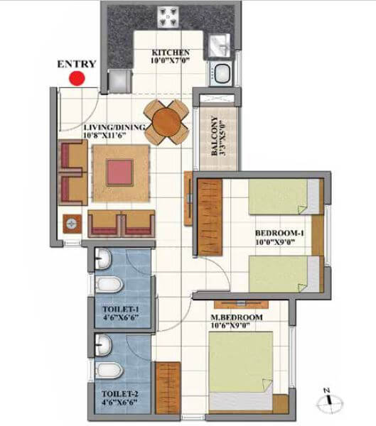 shriram codename dil chahta hai dobara apartment 2bhk 700sqft 1