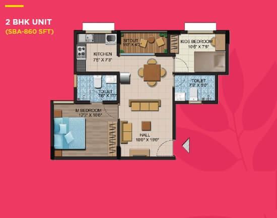 shriram liberty square apartment 2bhk 860sqft 2