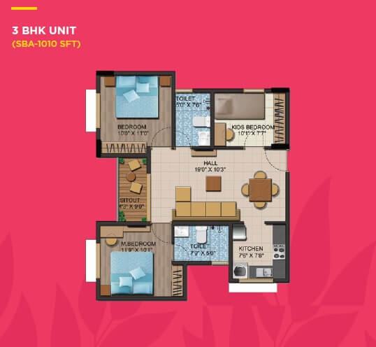 shriram liberty square apartment 3bhk 1010sqft 1