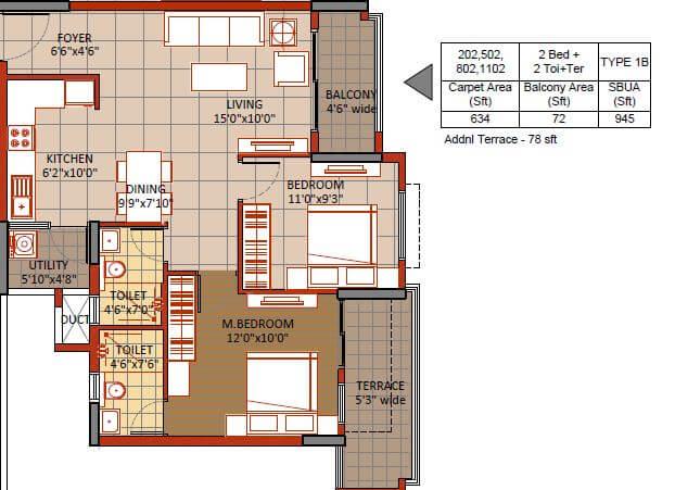 sipani veiveza apartment 2bhk 945sqft 1