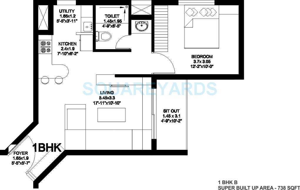 sjr primecorp fiesta homes apartment 1bhk 738sqft1