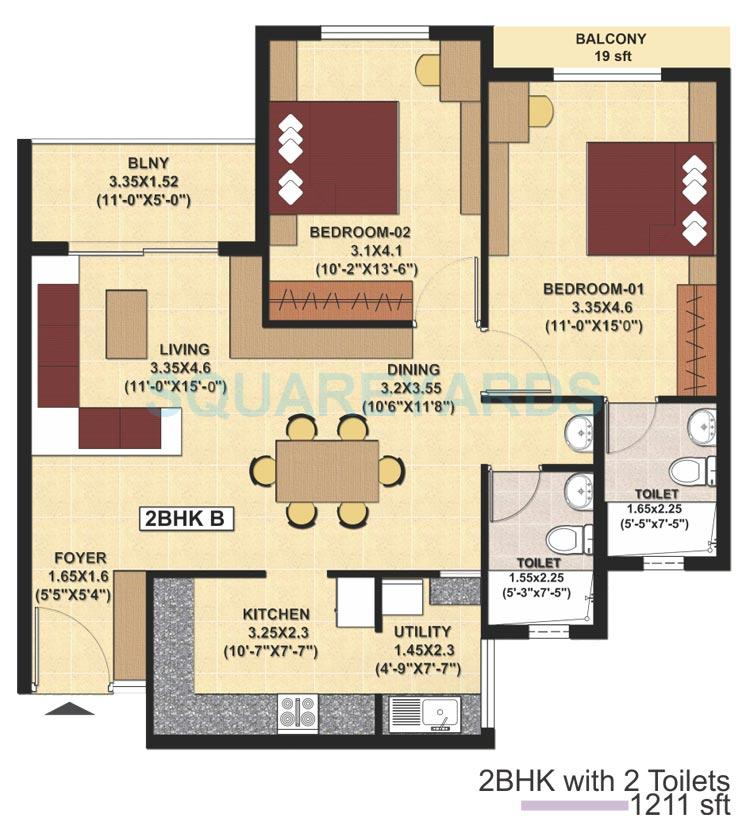 sjr primecorp fiesta homes apartment 2bhk 1200sqft1