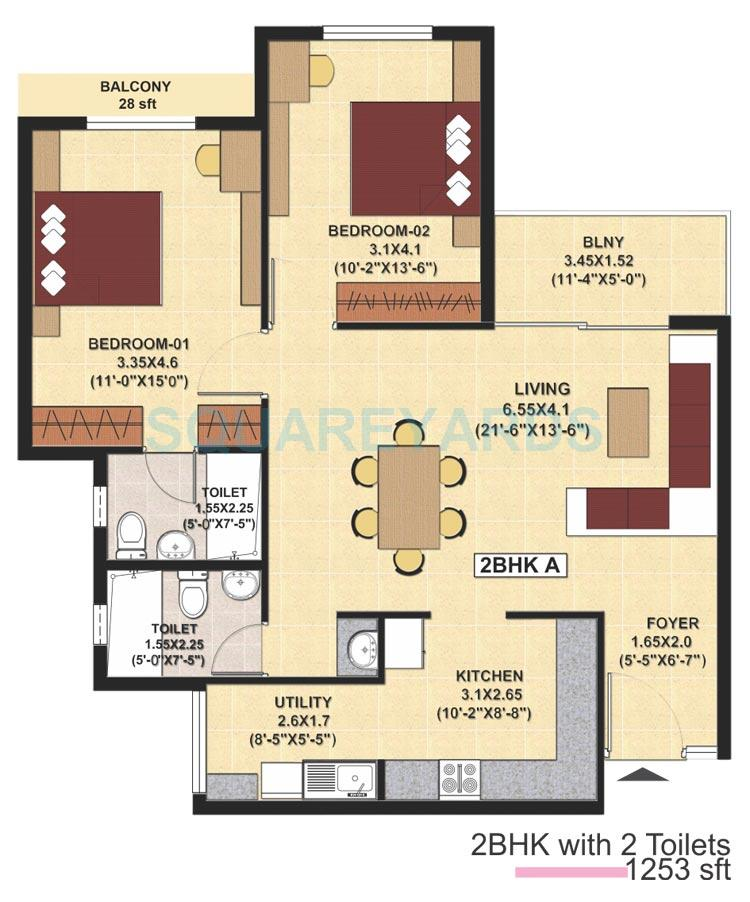 sjr primecorp fiesta homes apartment 2bhk 1265sqft1