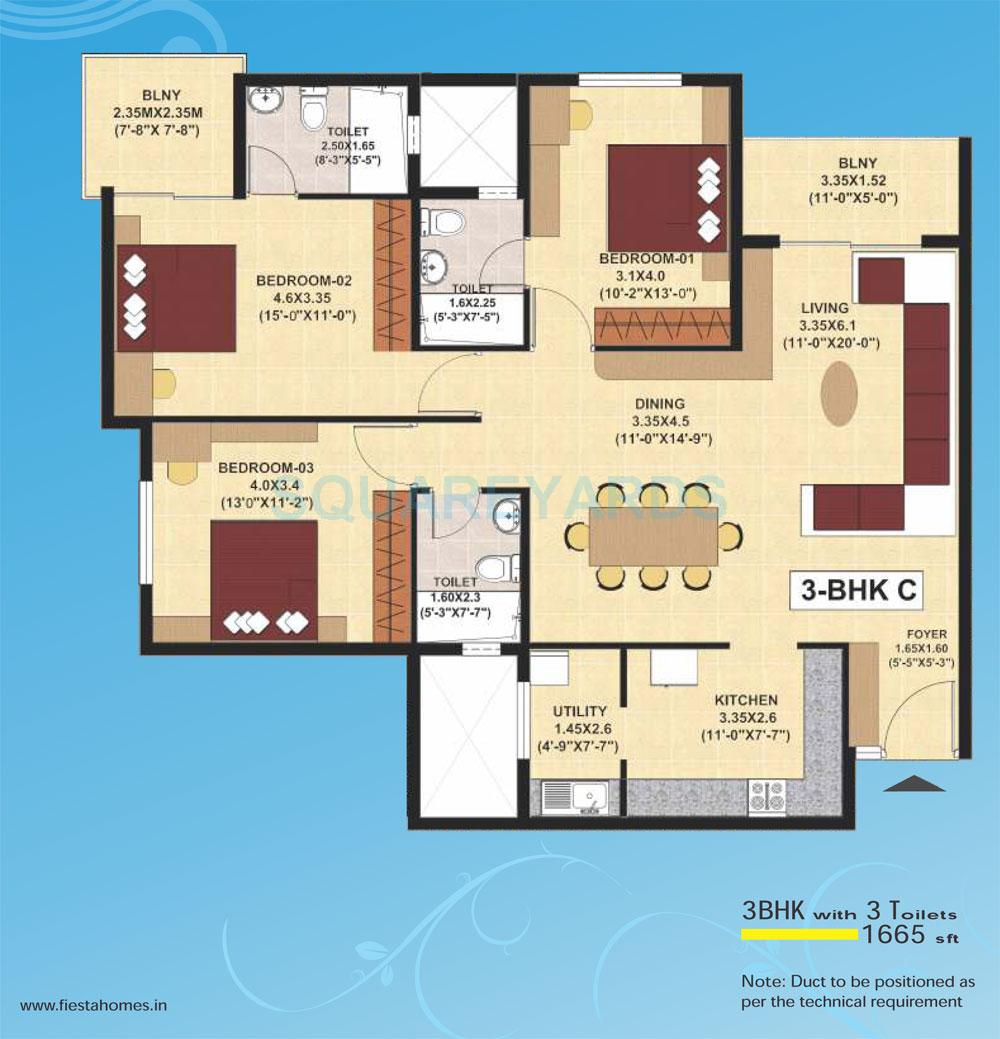 sjr primecorp fiesta homes apartment 3bhk 1665sqft1