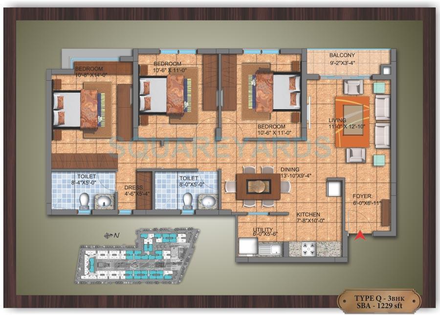 sjr primecorp hamilton homes apartment 3bhk 1240sqft1