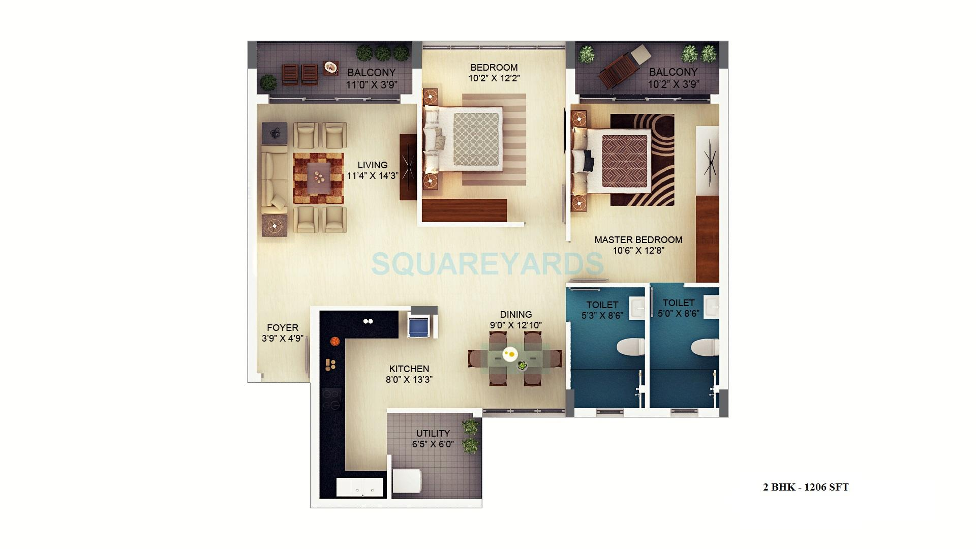sjr primecorp mayfair residences apartment 2bhk 1206sqft1