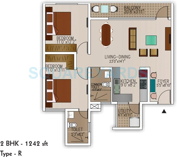 sjr primecorp palazza city apartment 2bhk 1242sqft1