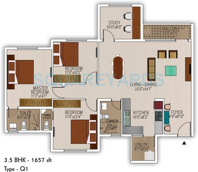 sjr primecorp palazza city apartment 3bhk 1657sqft1