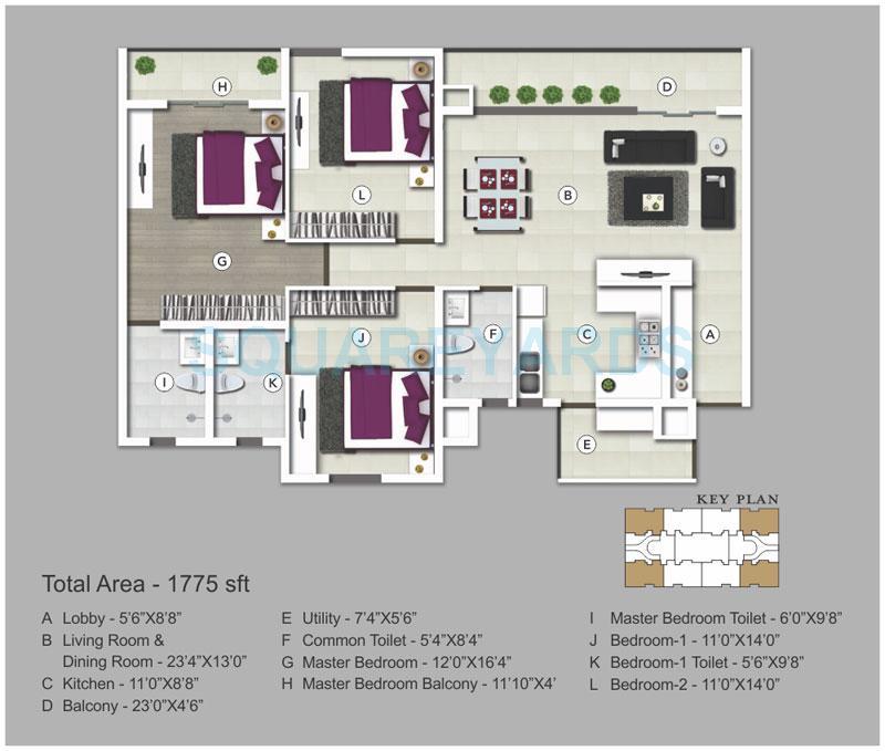 sjr primecorp vogue residences apartment 3bhk 1775sqft1