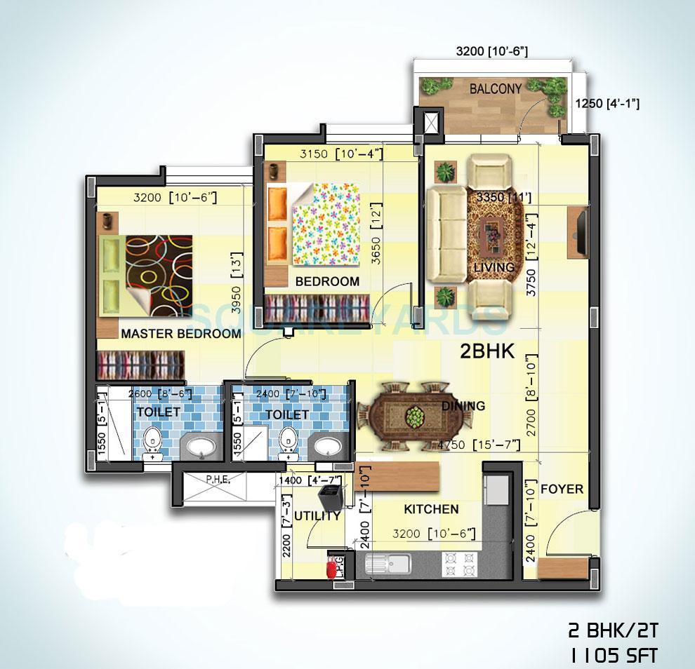 sjr primecorp water mark apartment 2bhk 1105sqft1