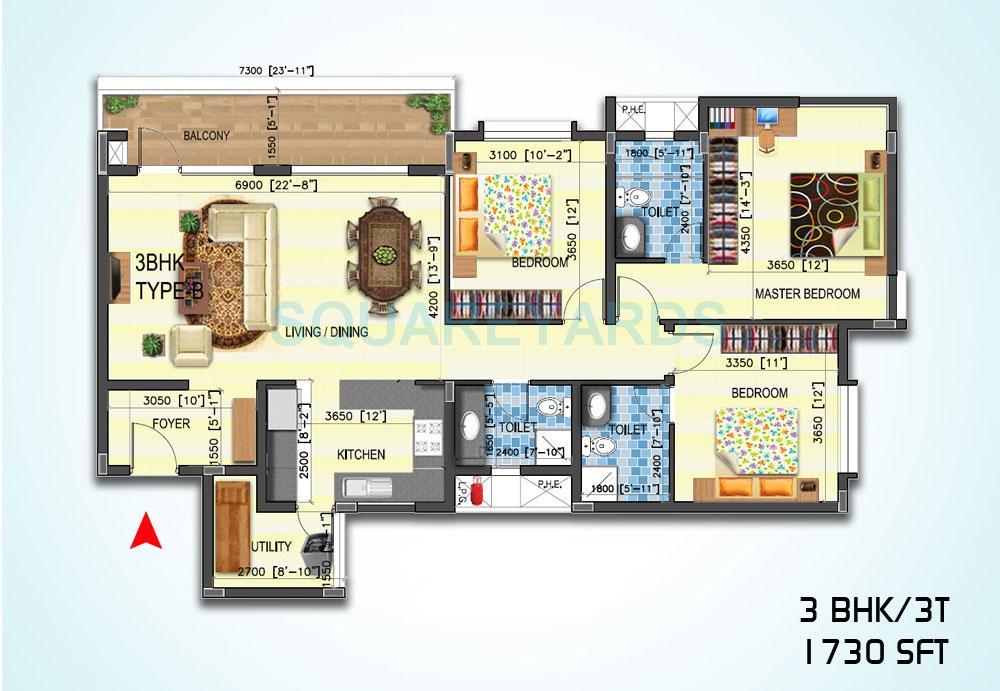 sjr primecorp water mark apartment 3bhk 1730sqft1