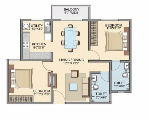 skylark dasos apartment 2bhk 996sqft 1