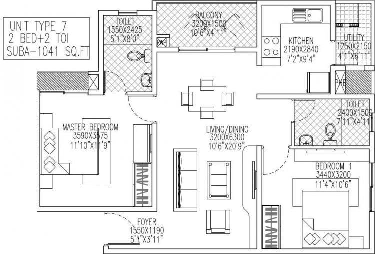skylark royaume apartment 2bhk 1041sqft 1