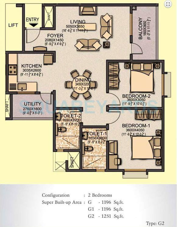 sobha aspire apartment 2bhk 1196sqft1