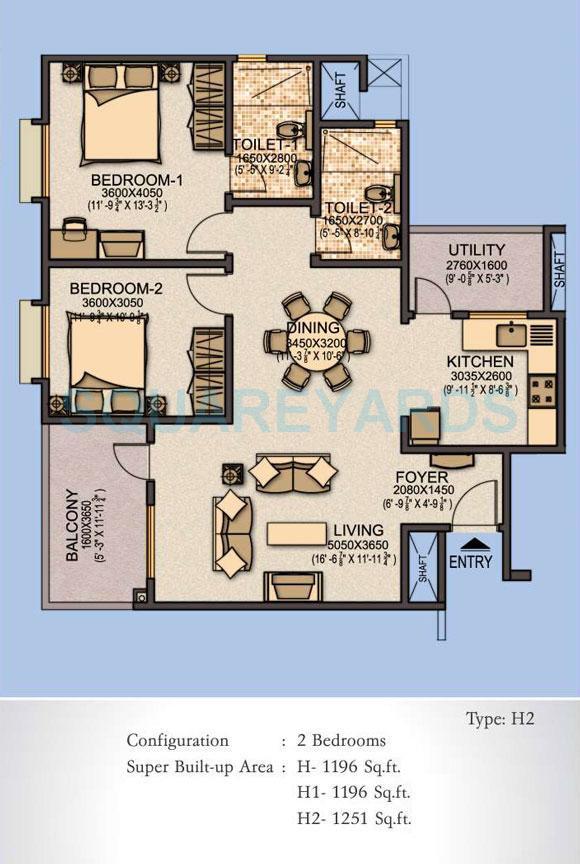 sobha aspire apartment 2bhk 1251sqft1