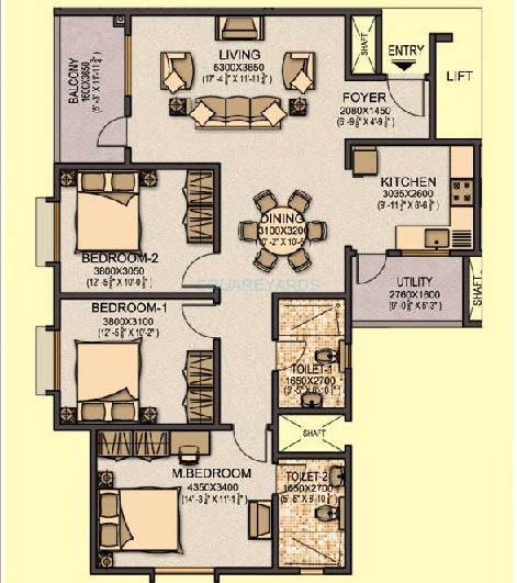 sobha aspire apartment 3bhk 1404sqft1