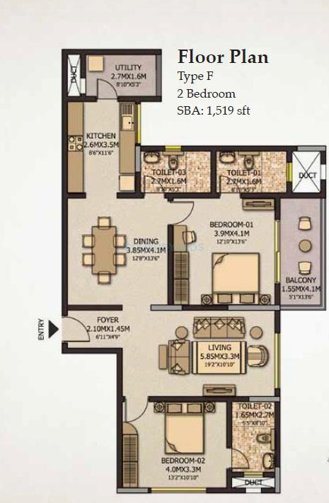 sobha city casa serenita apartment 2bhk 1519sqft1
