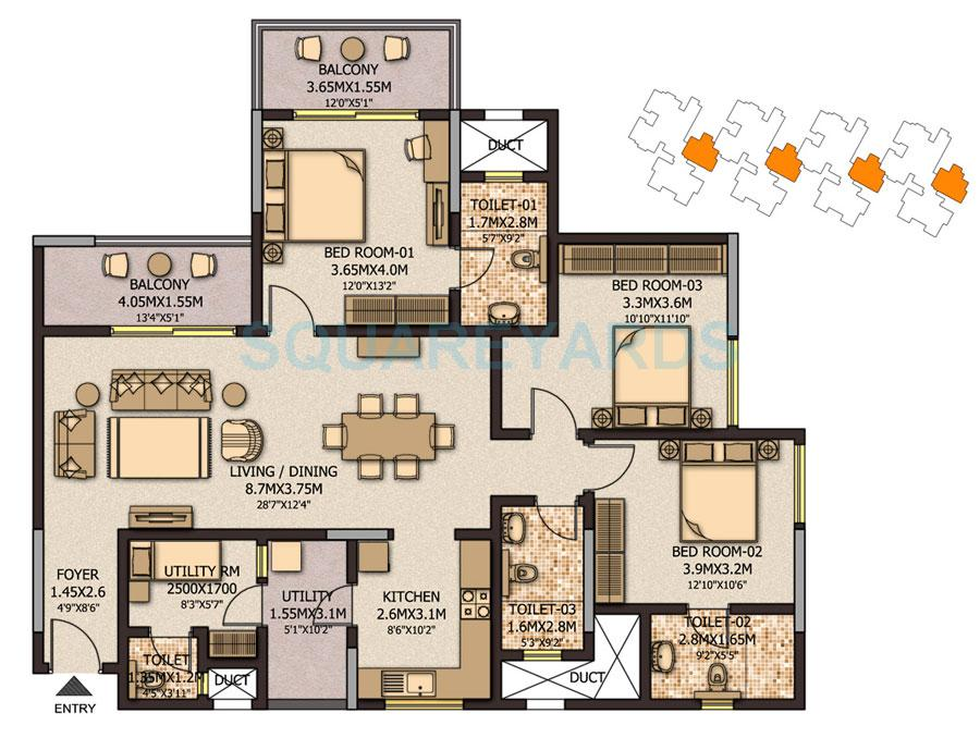 sobha city casa serenita apartment 3bhk 1884sqft1