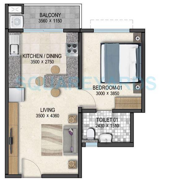 sobha dream acres apartment 1bhk 657sqft 1