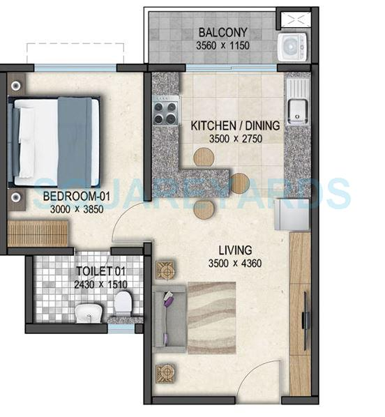 sobha dream acres apartment 1bhk 661sqft 1
