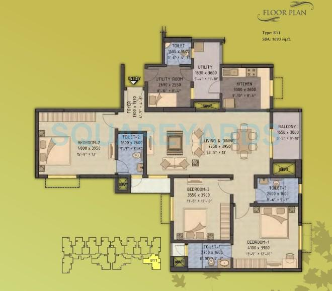 Forest View Apartments: 3 BHK 1893 Sq. Ft. Apartment For Sale In Sobha Forest View