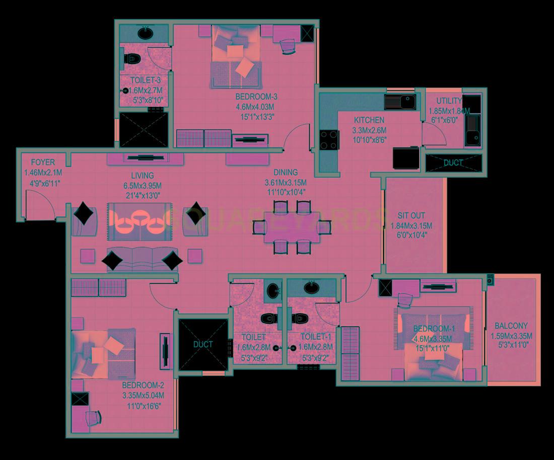 sobha indraprastha apartment 3bhk 1950sqft1