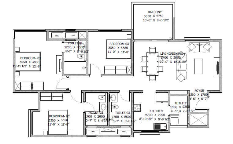 sobha lake garden apartment 3bhk 1107sqft1