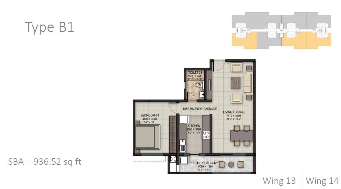 sobha rain forest apartment 1bhk 937sqft 1