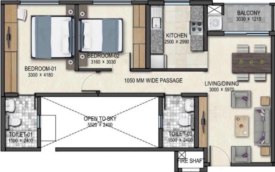 sobha rain forest phase 4 wing 11 apartment 2bhk 1000sqft21