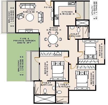 sobha rose apartment 3bhk 1720sqft1