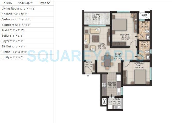 sobha silicon oasis apartment 3bhk 1430sqft 1