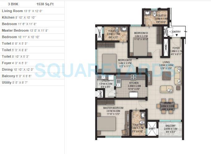 sobha silicon oasis apartment 3bhk 1538sqft 1