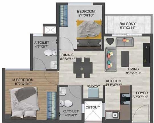 sowparnika flamenco apartment 2bhk 765sqft 1