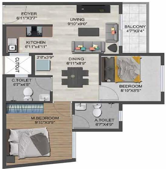 sowparnika flamenco apartment 2bhk 777sqft 1