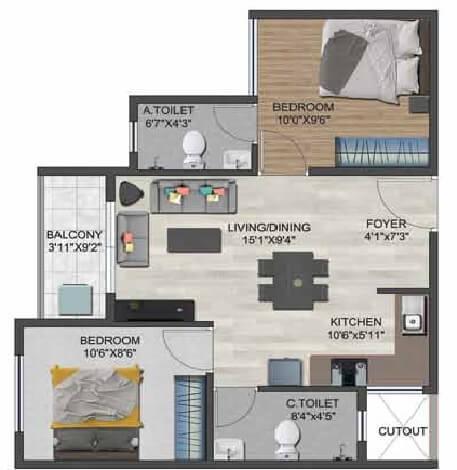 sowparnika flamenco apartment 2bhk 788sqft 1