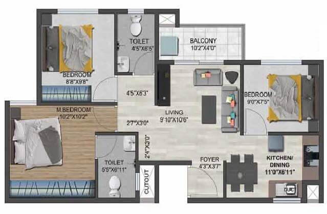 sowparnika flamenco apartment 3bhk 907sqft 1