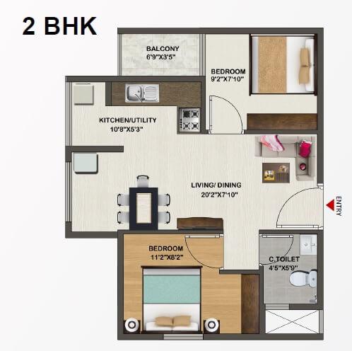sowparnika indraprastha apartment 2bhk 658sqft 1
