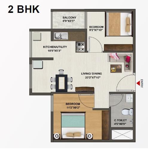 sowparnika indraprastha apartment 2bhk 681sqft 1