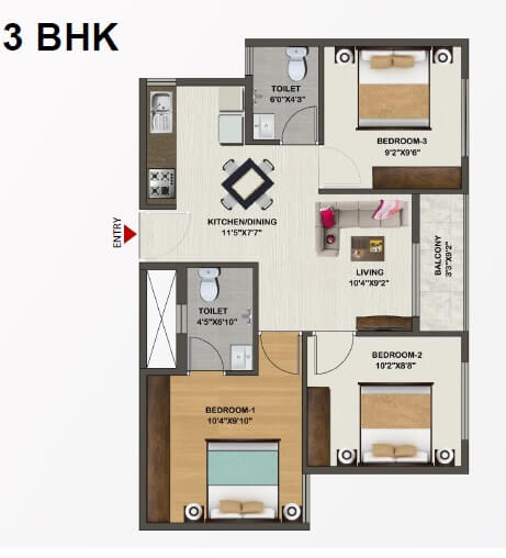 sowparnika indraprastha apartment 3bhk 884sqft 1