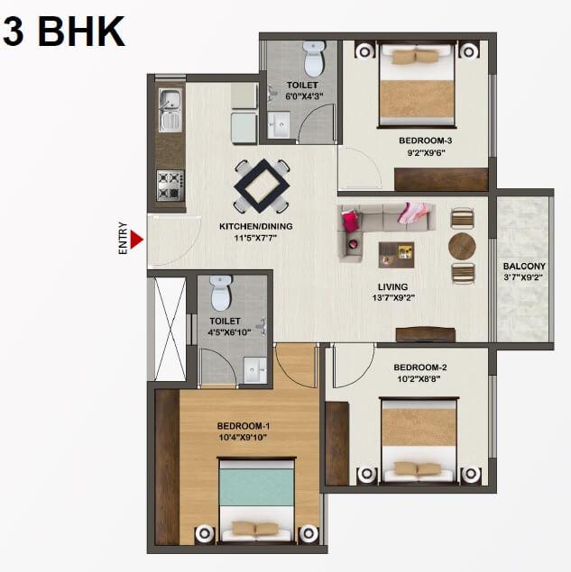 sowparnika indraprastha apartment 3bhk 942sqft 1